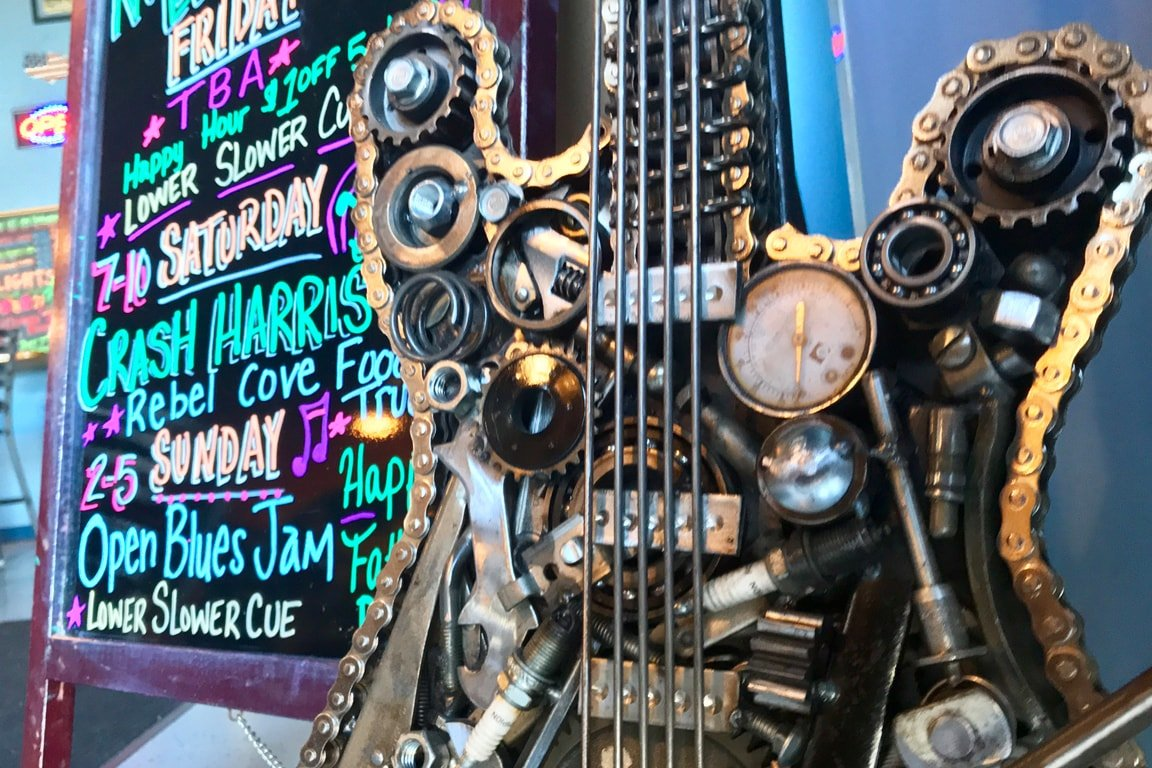 The infamous steampunk guitar on display at Blue Earl Brewery